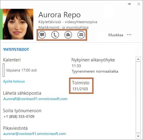 Skype for Business -yhteystietokortti