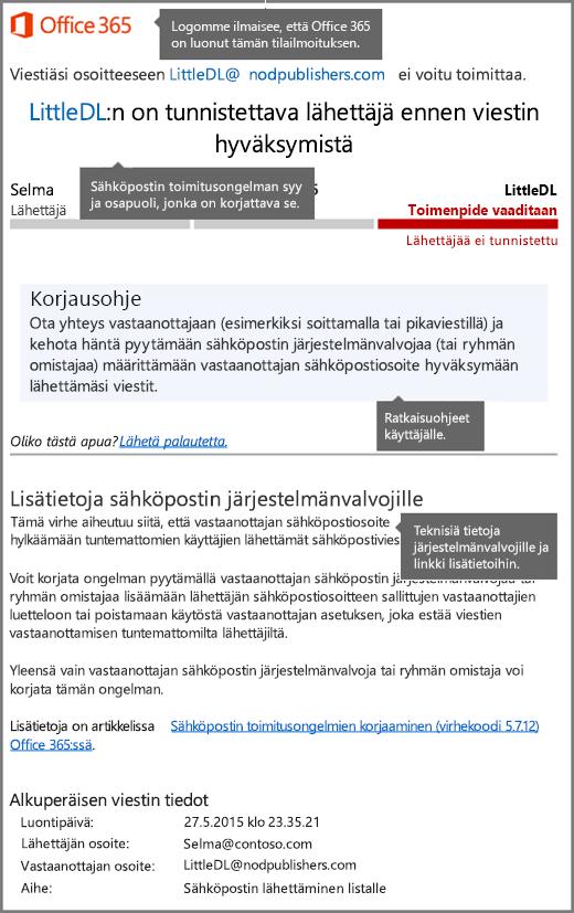 Toimitusvirheraportin (DSN) uusi muotoilu Office 365:ssa
