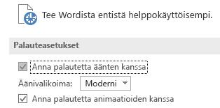 Osittainen näkymä Wordin Aputoiminnot-asetuksista
