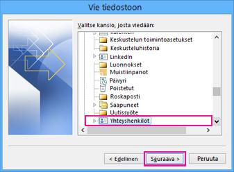 Outlookin Ohjattu vientitoiminto - Valitse yhteystiedot