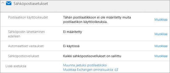 Näyttökuva: Office 365-sähköpostiasetukset