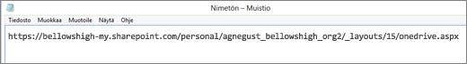 Liitä URL-osoite ohjelmaan, esimerkiksi Muistioon.