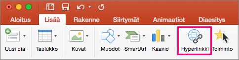 Näyttää PowerPoint 2016 for Macin Lisää-välilehden