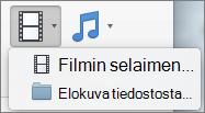 Näyttökuvassa näkyy elokuvan selaimessa ja tiedostoasetukset käytettävissä Video avattavan ohjausobjektin elokuva. Valitse vaihtoehto, jos haluat lisätä elokuvan PowerPoint-esityksen.