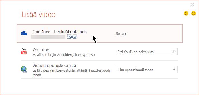 Lisää video -valintaikkunassa on valinta, jolla videon voi avata tai upottaa OneDrivesta.