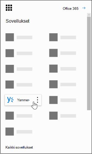 Office 365: n sovellusten käynnistin korostettuna Yammer-sovelluksen kanssa