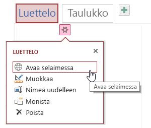 Ponnahdusvalikko, jossa näkyy valinnat Avaa selaimessa, Muokkaa, Nimeä uudelleen, Kopioi ja Poista