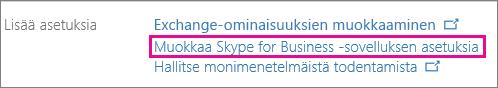 Valitse Skype for Business