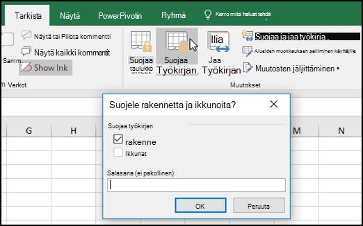 Suojaa rakenne- ja Windows-valintaikkuna