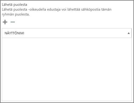 Näyttökuva: lisää plusmerkin avulla käyttäjät, joiden haluat lähettävän Office 365 -ryhmänä.