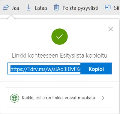 Kopioi linkki -vahvistus, kun tiedostoja jaetaan linkin kautta OneDrivessa