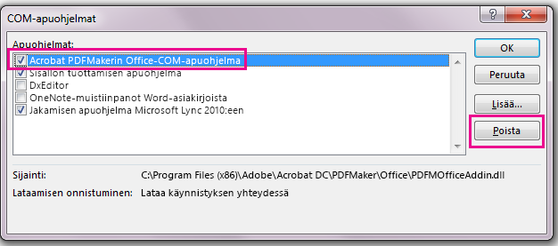 Valitse Acrobat PDFMaker Office COM Addin -valintaruutu ja valitse Poista.