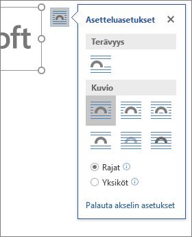 Valitse asetteluvaihtoehdoista tapa, jolla teksti juoksutetaan lisätyn kuvan ympäri.