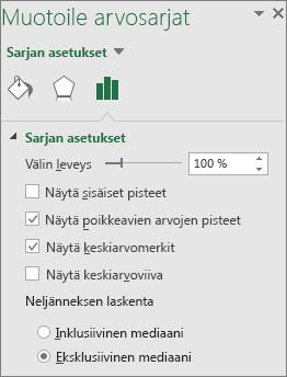 Office 2016 for Windowsin Muotoile arvosarjat -tehtäväruutu, jossa näkyy Laatikko- ja Jana-vaihtoehdot