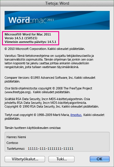 Word for Mac 2011:n Tietoja Wordista -sivu