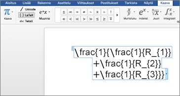 Word-asiakirja, jossa on LaTex-kaava