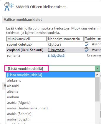 Lisää Lisää muokkauskieliä -luetteloon