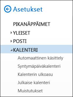 Outlookin verkkoversio, kalenteriasetukset