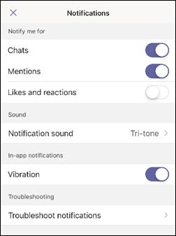 iOS teamsin sovellus ilmoitukset-näyttö kuva