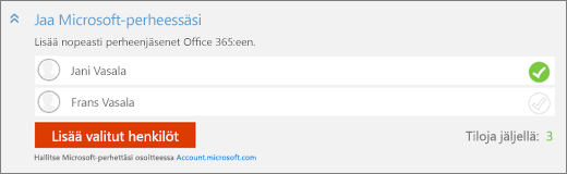 Lähikuva Lisää henkilö -valintaikkunan Jaa Microsoft-perheessäsi -osasta, jossa on Lisää valitut henkilöt -painike.