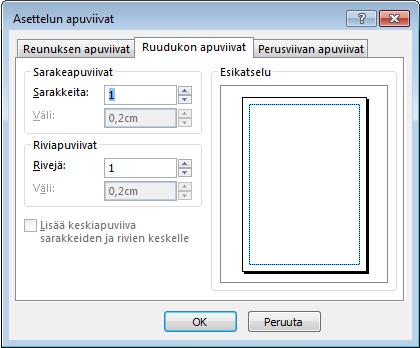 Publisherin Asettelun apuviivat -valintaikkunan Ruudukon apuviivat -kohta
