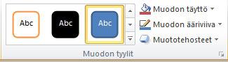 Muotoile-välilehden Muodon tyylit -ryhmä.