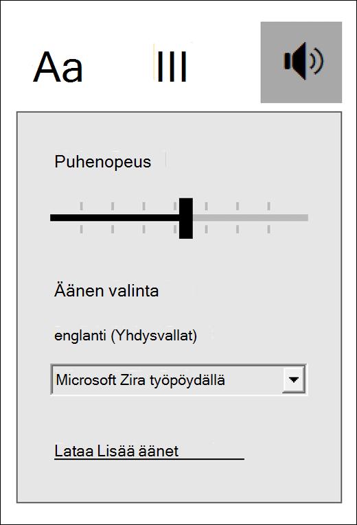 Vastaajan tehokkaan Reader ohjausobjektit-valikko