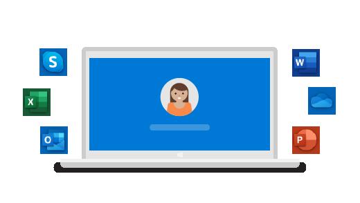 Kannettava tietokone, jota ympäröivät eri sovellusten logot, käyttäjä keskellä