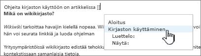 Linkin lisääminen wikiin
