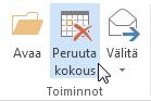 Valintanauhan Peruuta kokous -komento
