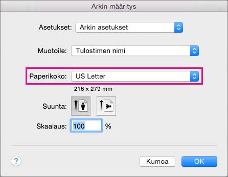 Valitse paperikoko tai luo mukautettu koko valitsemalla se Paperikoko-luettelosta.