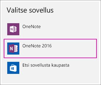 Näyttökuva Windows 10:n asetusten Valitse sovellus -vaihtoehdosta.