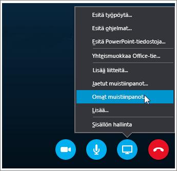 Näyttökuva OneNote 2016 -muistiinpanojen jakamisesta Skype for Businessissa.