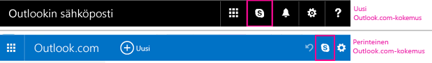 Uuden ja vanhan Outlook.com-käyttöympäristön Skype-painikkeet