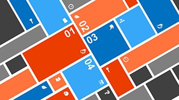 Kulmittaisia värillisiä lohkoja ja numeroita PowerPointin animoidun infograafin esimerkkimallissa