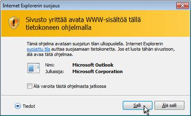 Internet Explorerin Suojaus-valintaikkuna