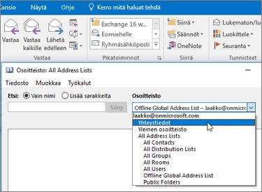 Kun olet tuonut Gmail-yhteystiedot, löydät ne Office 365:ssä valitsemalla osoitekirjan