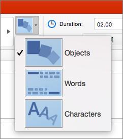 Näyttää PowerPoint 2016 for Mac -sovelluksen muodonvaihdon tehosteasetukset