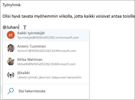 @mentions Outlookin verkkoversiossa
