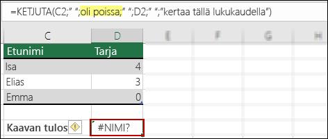 #NIMI?-virhe, koska tekstiarvoista puuttuvat kaksinkertaiset lainausmerkit