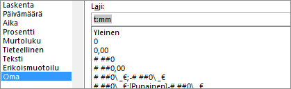 Muotoile solut -valintaikkuna, Oma-komento, laji [t]:mm