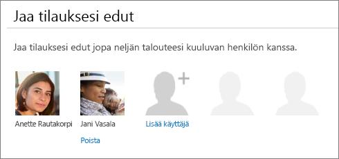 """Näyttökuva Jaa Office 365 -sivun """"Jaa tilausedut"""" -osasta, jossa näkyy """"Poista""""-linkki käyttäjän kuvan alla."""