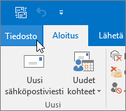Näyttökuva Outlook 2016:n Tiedosto-valikosta