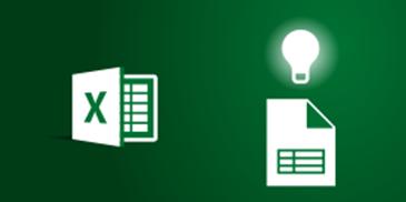 Excel- ja laskentataulukkokuvakkeet sekä hehkulamppu