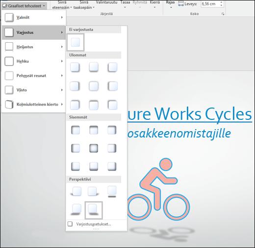 Tehosteiden (esimerkiksi varjojen) lisääminen SVG-kuviin Graafiset tehosteet -työkalulla