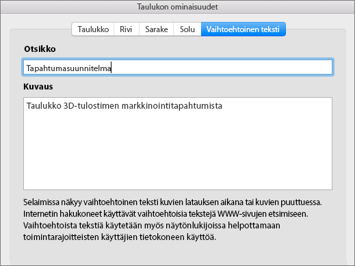 Näyttökuva Taulukon ominaisuudet -valintaikkunan vaihtoehtoisen tekstin välilehdestä
