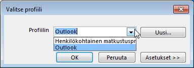 Outlook-profiilivalinnan valintaikkuna