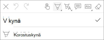 OneDrive for iOS PDF Markup Pen-valikko