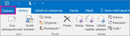 Outlook 2016:n valintanauhan ulkoasu