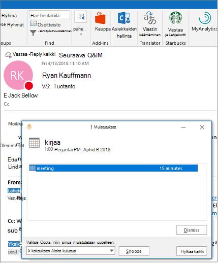 Muistutus-valintaikkuna Outlook-sähköpostiviestin päälle
